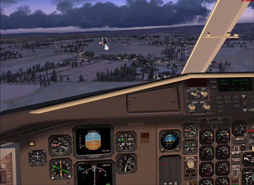 Night landing in simulator